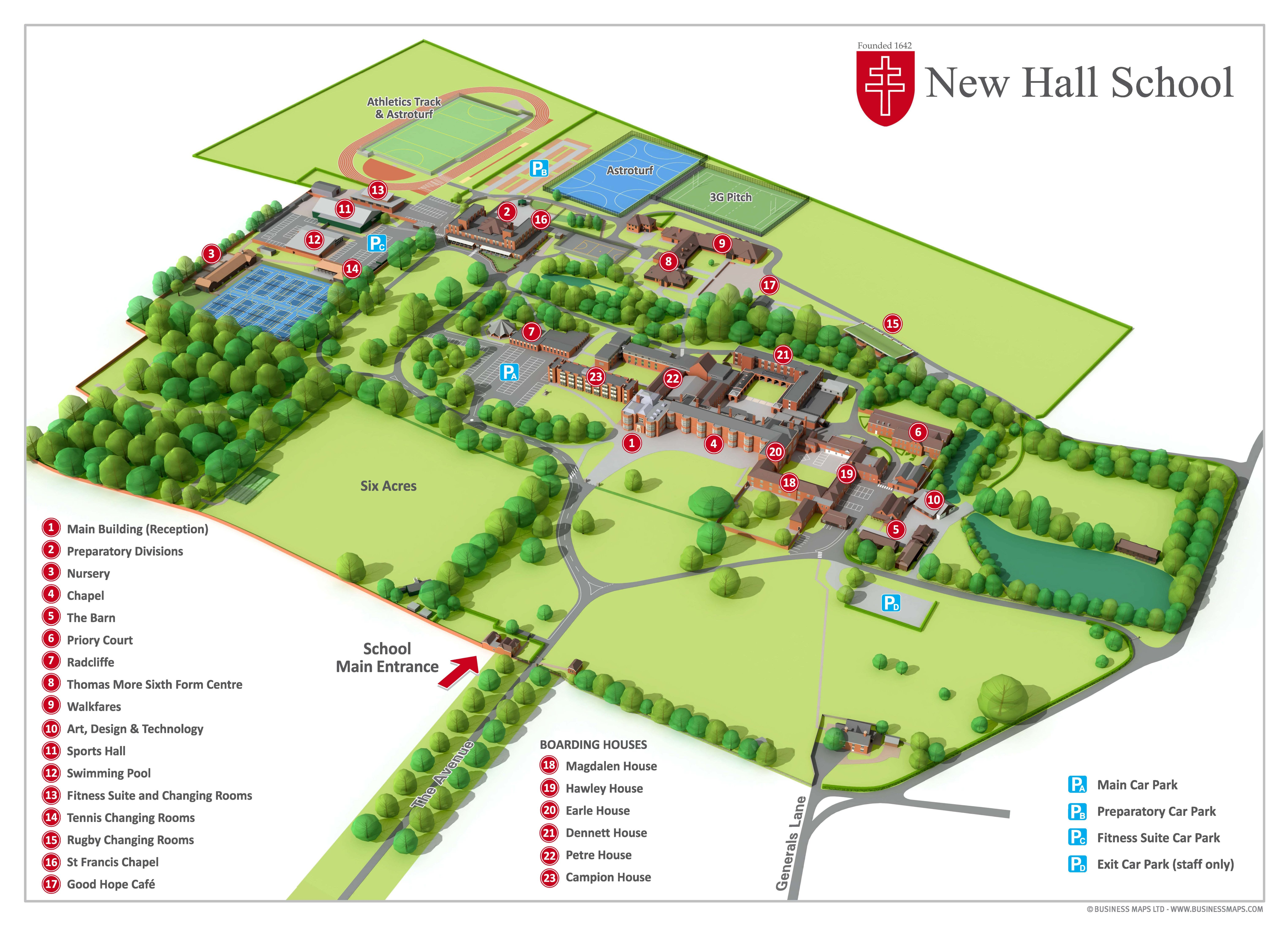 New Hall Site Map